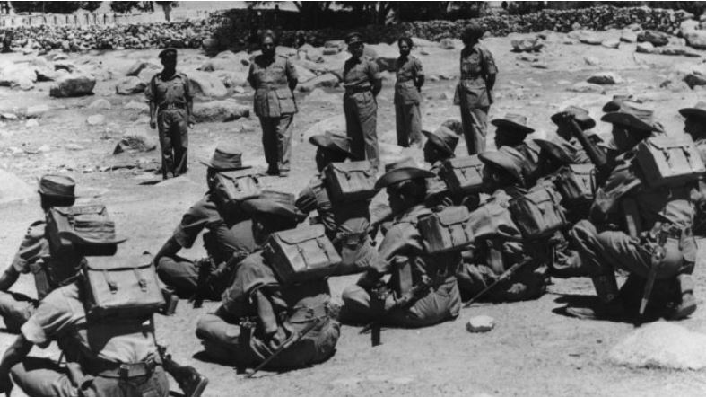 Indian troops being inspected